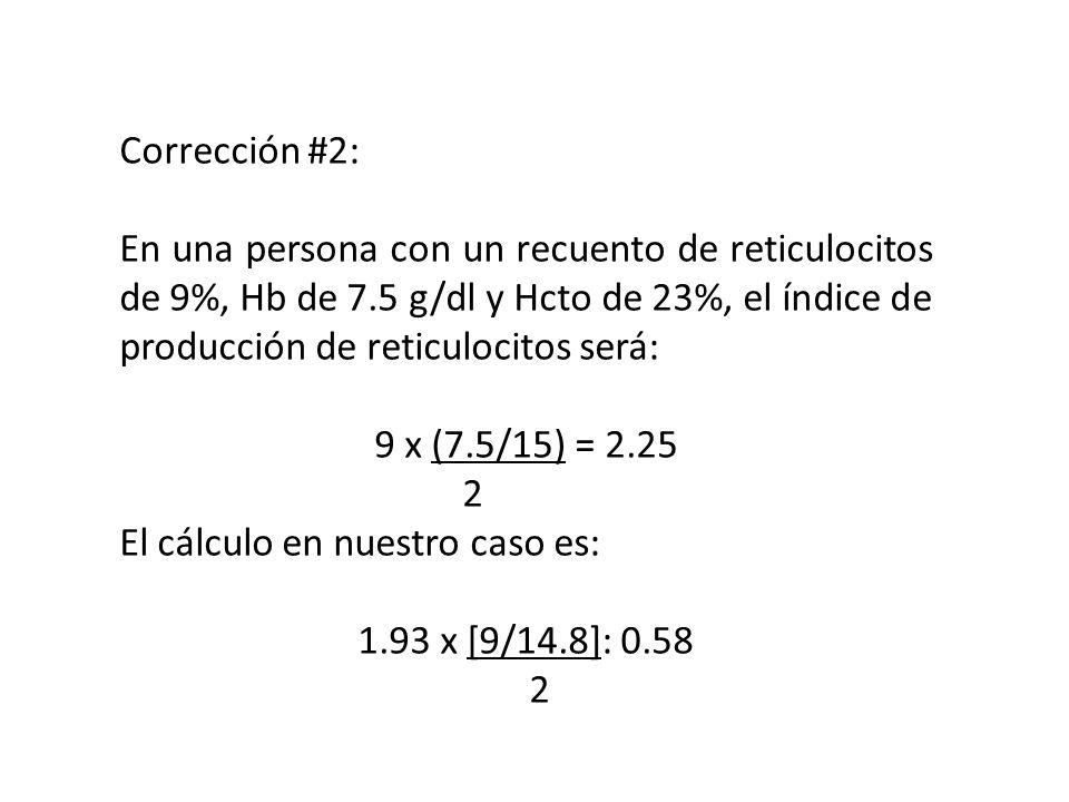 Corrección #2: En una persona con un recuento de reticulocitos de 9%, Hb de 7.5 g/dl y Hcto de 23%, el índice de producción de reticulocitos será: 9 x
