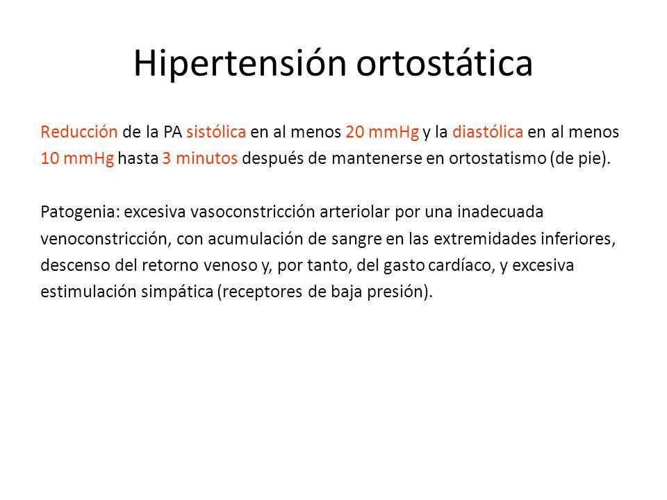 Hipertensión ortostática Reducción de la PA sistólica en al menos 20 mmHg y la diastólica en al menos 10 mmHg hasta 3 minutos después de mantenerse en