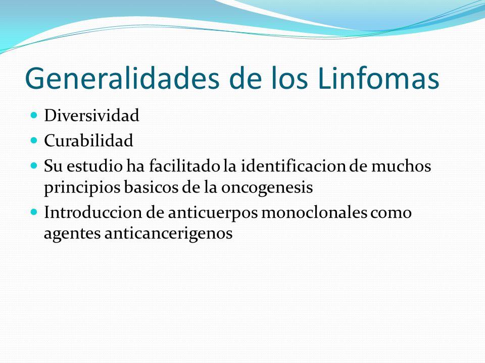 Generalidades de los Linfomas Diversividad Curabilidad Su estudio ha facilitado la identificacion de muchos principios basicos de la oncogenesis Intro
