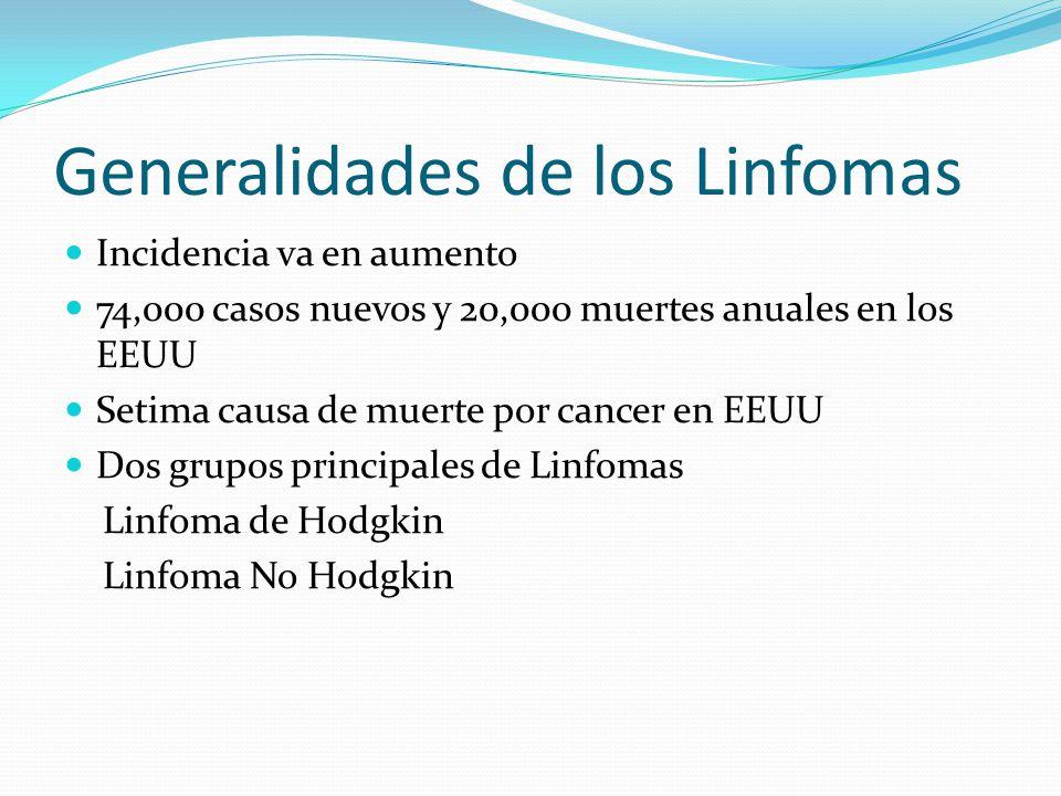 Generalidades de los Linfomas Incidencia va en aumento 74,000 casos nuevos y 20,000 muertes anuales en los EEUU Setima causa de muerte por cancer en E