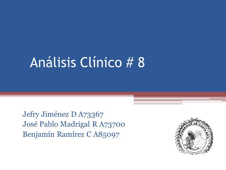 AnálisisResultadoUnidadesReferencia Recuento de blancos 5.7 x 10^35 – 10 Recuento de rojos 3.63 x 10^64 - 5.6 Hemoglobina 10.3 g/dL12.5 -14.8 Hematocrito 33% %38 - 47 MCV 90 fL90 - 101 MCH 28 Pg26 - 35 MCHCg/dL31 - 35 Plaquetas 426 x 10^3200 - 400 Linfocitos 42 %20 - 45 Monocitos 10 %2 - 10 Neutrófilos 44 %40 - 70 Eosinófilos 3 %< 3 Basófilos 0 %< 1 Bandas 1% % < 4% DHL 106 UI/L91-180 PCR 0.63 mg/dL< 0.34 VES 100 mm 1 hora< 7
