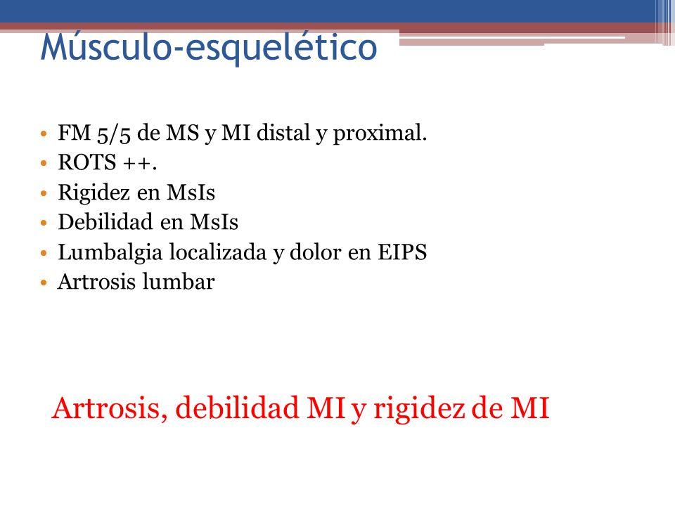 Músculo-esquelético FM 5/5 de MS y MI distal y proximal. ROTS ++. Rigidez en MsIs Debilidad en MsIs Lumbalgia localizada y dolor en EIPS Artrosis lumb