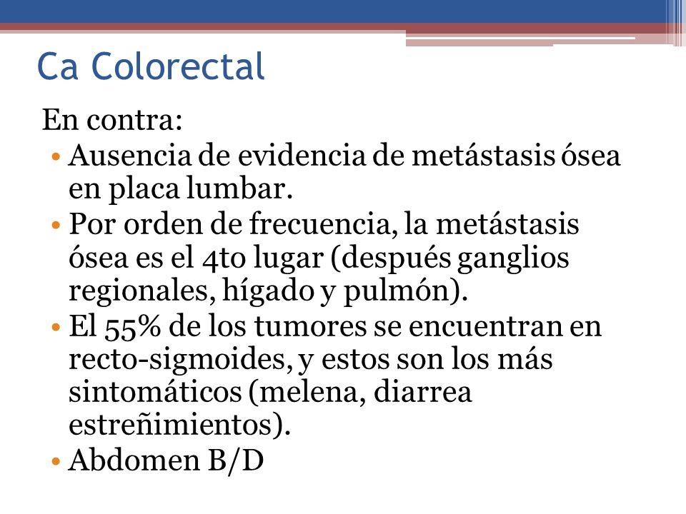 Ca Colorectal En contra: Ausencia de evidencia de metástasis ósea en placa lumbar. Por orden de frecuencia, la metástasis ósea es el 4to lugar (despué
