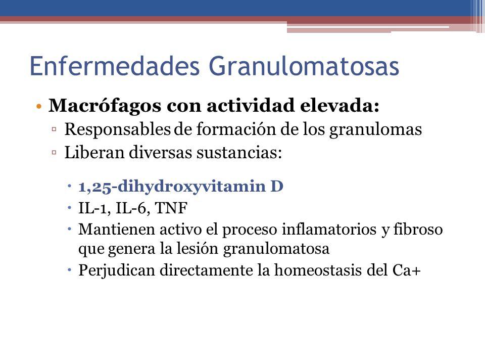 Enfermedades Granulomatosas Macrófagos con actividad elevada: Responsables de formación de los granulomas Liberan diversas sustancias: 1,25-dihydroxyv