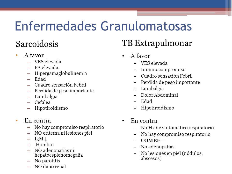 Enfermedades Granulomatosas TB Extrapulmonar A favor – VES elevada – Inmunocompromiso – Cuadro sensación Febril – Perdida de peso importante – Lumbalg