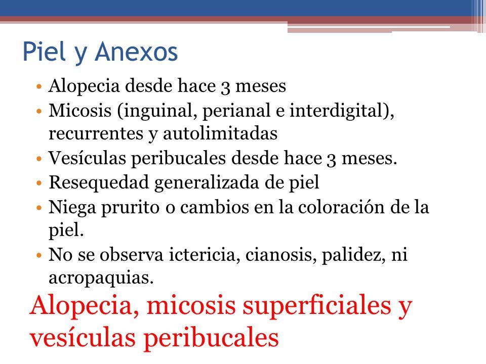 Piel y Anexos Alopecia desde hace 3 meses Micosis (inguinal, perianal e interdigital), recurrentes y autolimitadas Vesículas peribucales desde hace 3