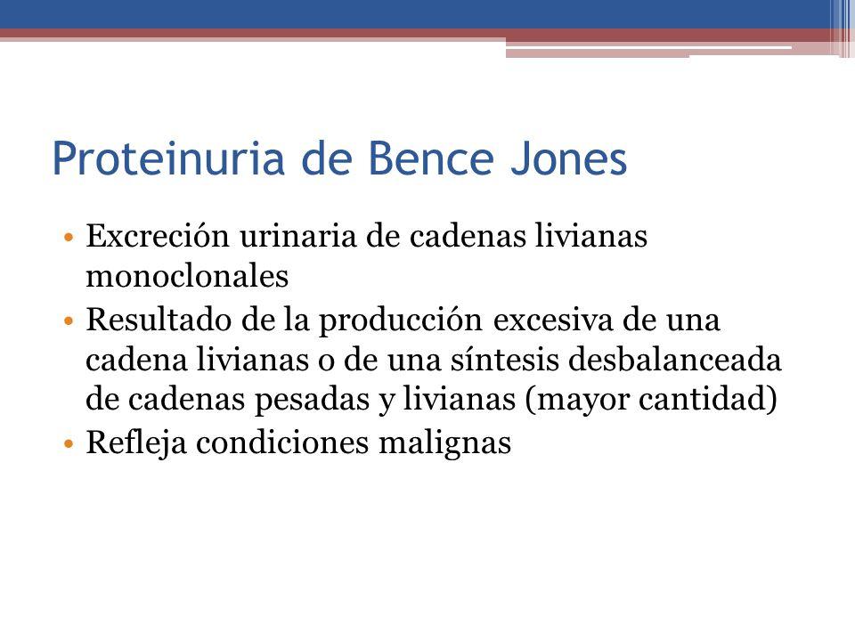 Proteinuria de Bence Jones Excreción urinaria de cadenas livianas monoclonales Resultado de la producción excesiva de una cadena livianas o de una sín