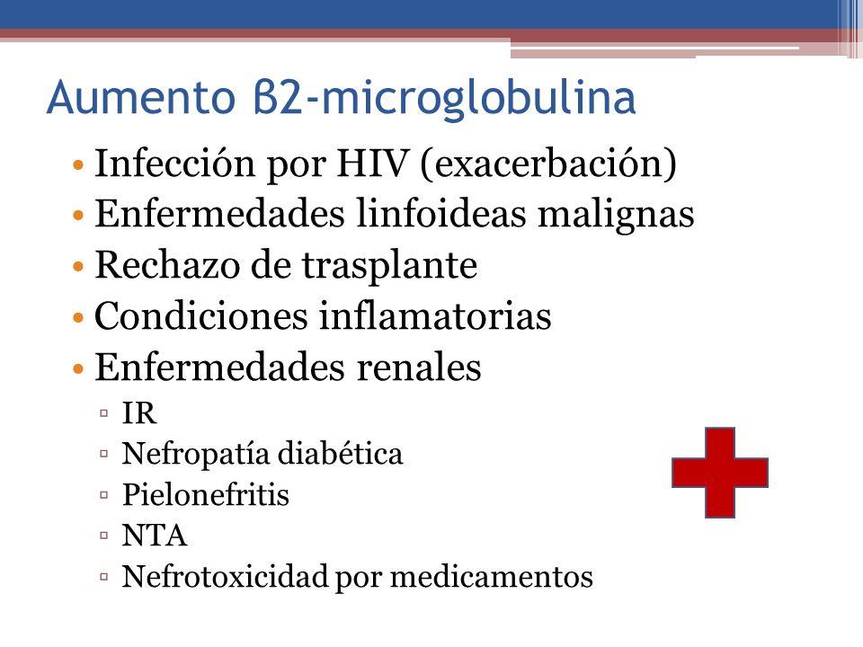 Aumento β2-microglobulina Infección por HIV (exacerbación) Enfermedades linfoideas malignas Rechazo de trasplante Condiciones inflamatorias Enfermedad