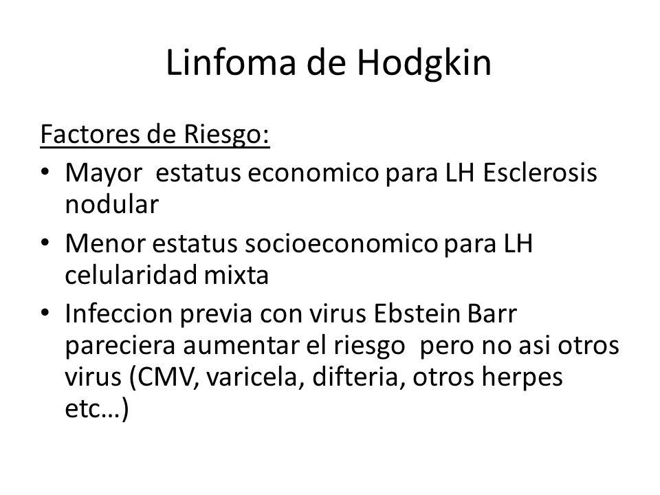 Linfoma de Hodgkin Factores de Riesgo: Mayor estatus economico para LH Esclerosis nodular Menor estatus socioeconomico para LH celularidad mixta Infec