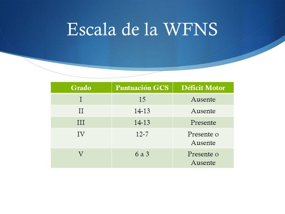 Escala de la WFNS GradoPuntuación GCSDéficit Motor I15Ausente II14-13Ausente III14-13Presente IV12-7Presente o Ausente V6 a 3Presente o Ausente