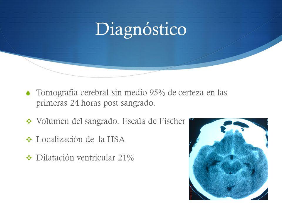 Diagnóstico Tomografía cerebral sin medio 95% de certeza en las primeras 24 horas post sangrado. Volumen del sangrado. Escala de Fischer Localización