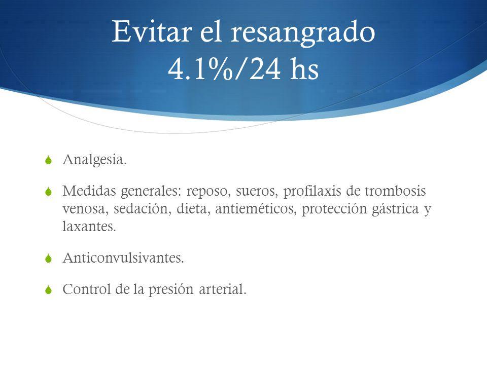 Evitar el resangrado 4.1%/24 hs Analgesia. Medidas generales: reposo, sueros, profilaxis de trombosis venosa, sedación, dieta, antieméticos, protecció