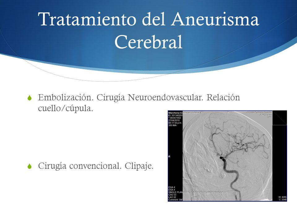 Tratamiento del Aneurisma Cerebral Embolización. Cirugía Neuroendovascular. Relación cuello/cúpula. Cirugía convencional. Clipaje.