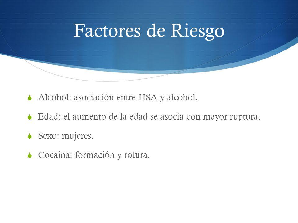 Factores de Riesgo Alcohol: asociación entre HSA y alcohol. Edad: el aumento de la edad se asocia con mayor ruptura. Sexo: mujeres. Cocaina: formación