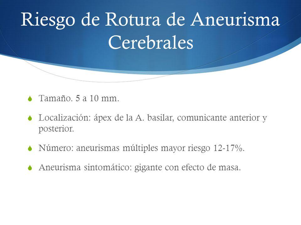 Riesgo de Rotura de Aneurisma Cerebrales Tamaño. 5 a 10 mm. Localización: ápex de la A. basilar, comunicante anterior y posterior. Número: aneurismas