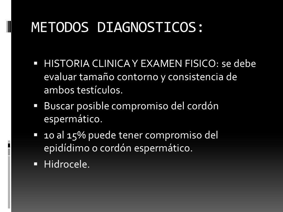 METODOS DIAGNOSTICOS: HISTORIA CLINICA Y EXAMEN FISICO: se debe evaluar tamaño contorno y consistencia de ambos testículos. Buscar posible compromiso