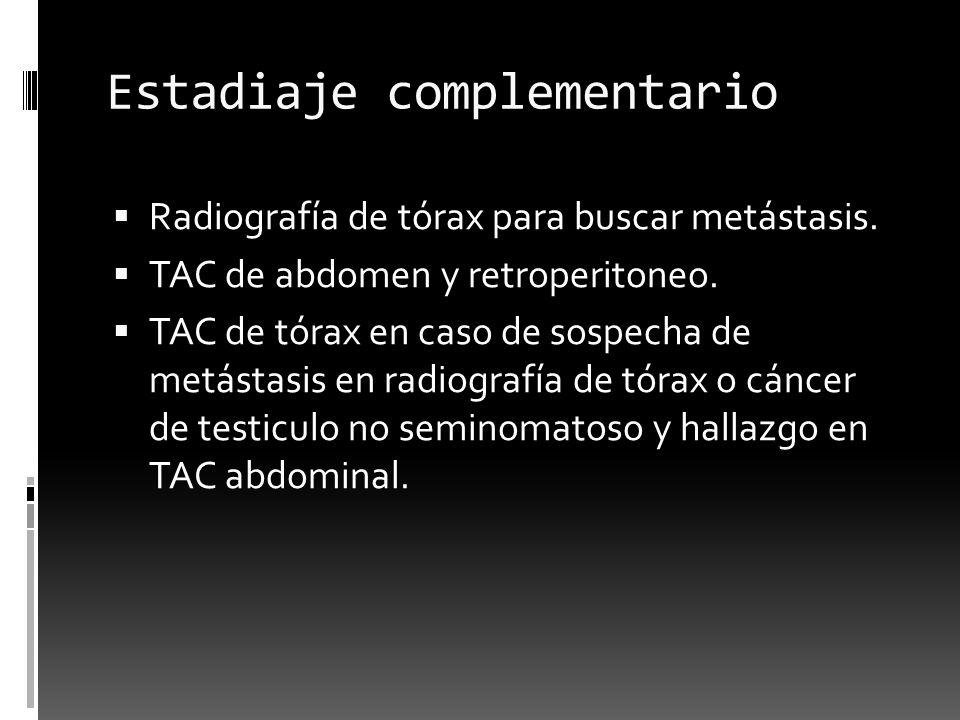 Estadiaje complementario Radiografía de tórax para buscar metástasis. TAC de abdomen y retroperitoneo. TAC de tórax en caso de sospecha de metástasis