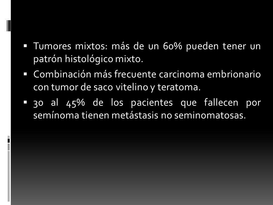 Tumores mixtos: más de un 60% pueden tener un patrón histológico mixto. Combinación más frecuente carcinoma embrionario con tumor de saco vitelino y t