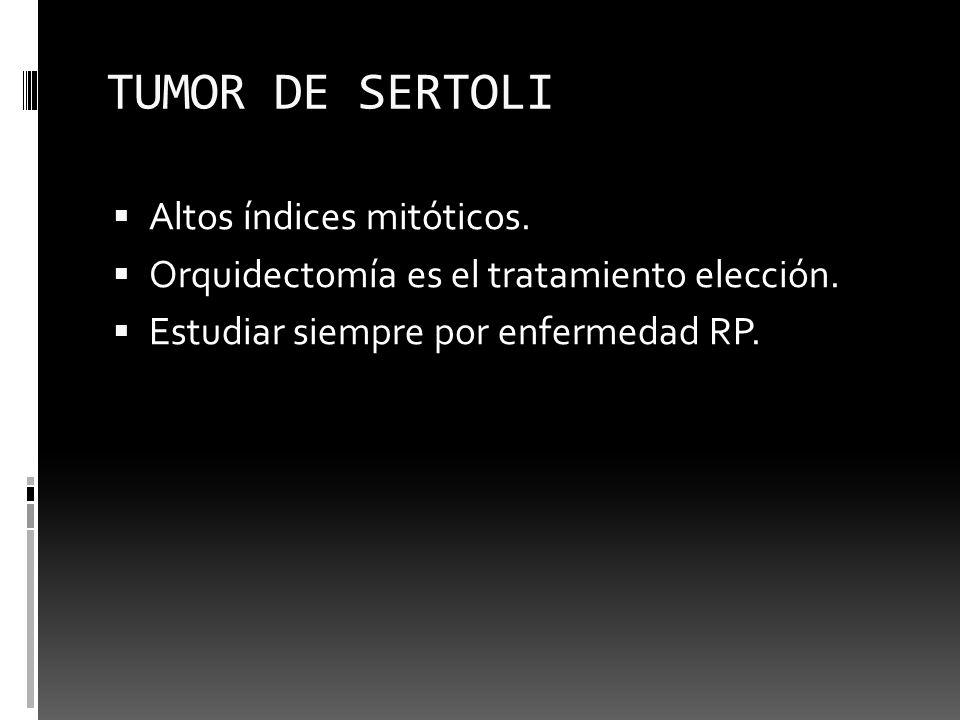 TUMOR DE SERTOLI Altos índices mitóticos. Orquidectomía es el tratamiento elección. Estudiar siempre por enfermedad RP.