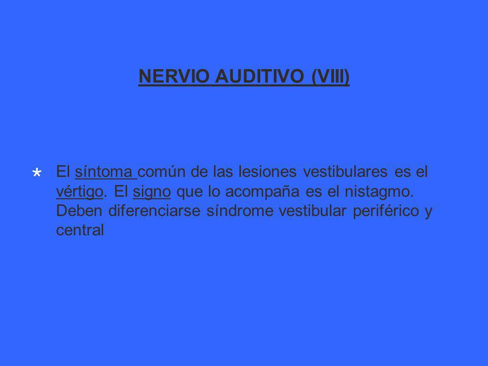 NERVIO AUDITIVO (VIII) El síntoma común de las lesiones vestibulares es el vértigo.