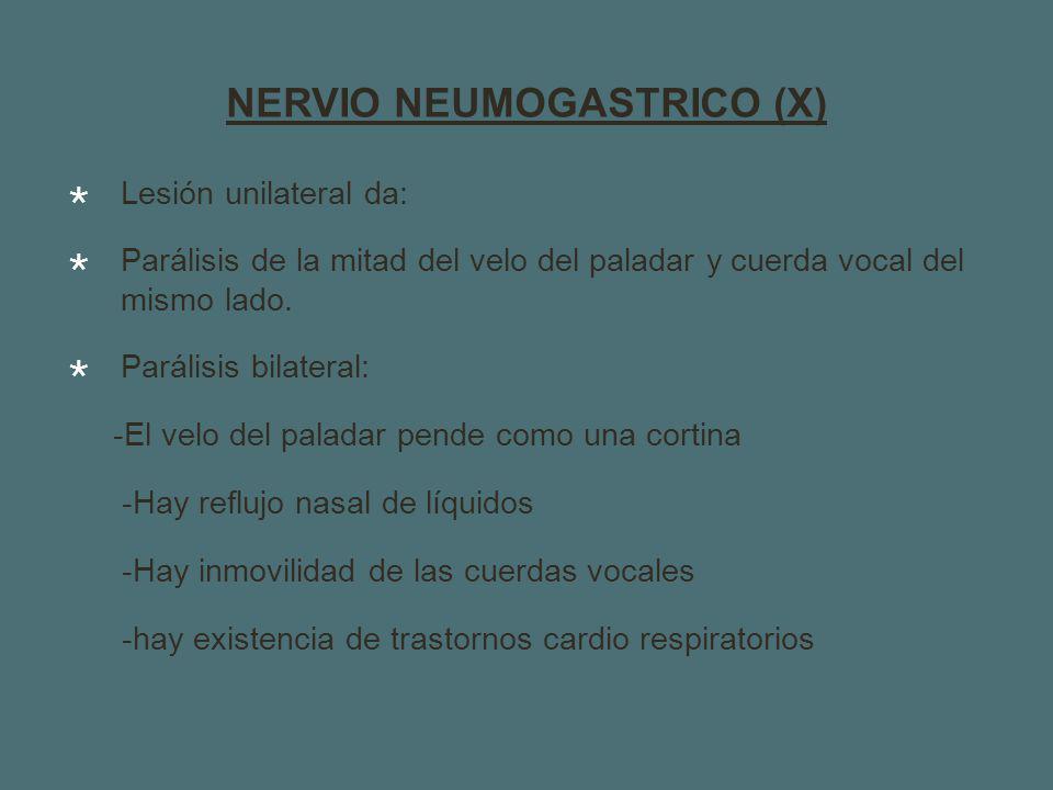 NERVIO NEUMOGASTRICO (X) Lesión unilateral da: Parálisis de la mitad del velo del paladar y cuerda vocal del mismo lado.