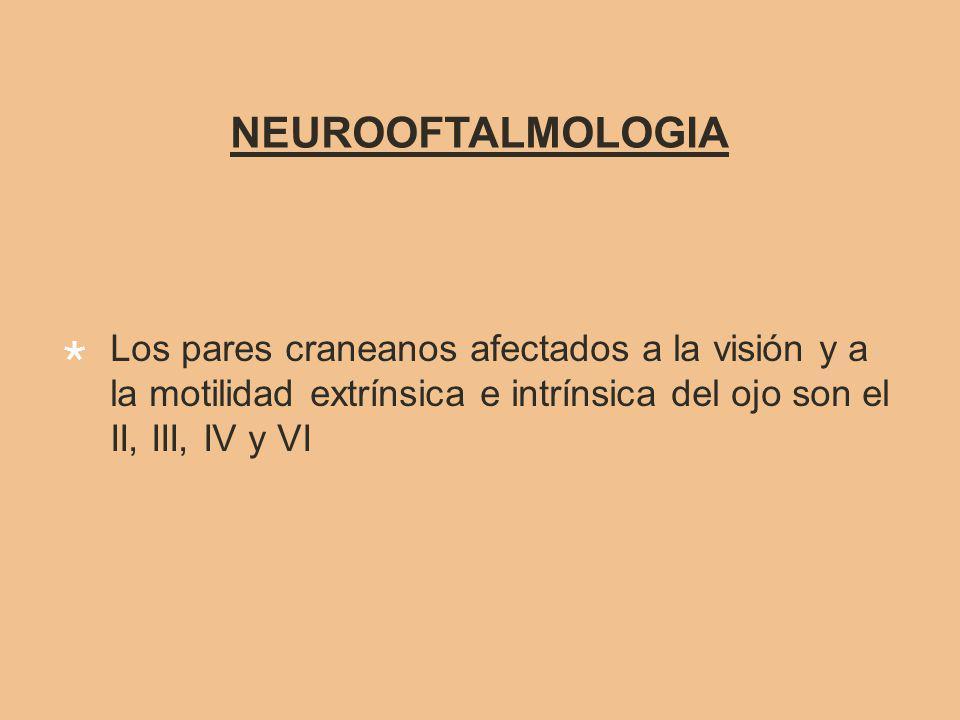NEUROOFTALMOLOGIA Los pares craneanos afectados a la visión y a la motilidad extrínsica e intrínsica del ojo son el II, III, IV y VI