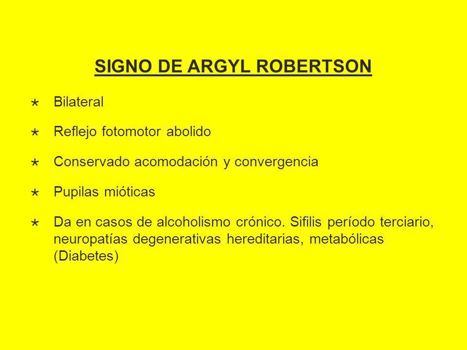 SIGNO DE ARGYL ROBERTSON Bilateral Reflejo fotomotor abolido Conservado acomodación y convergencia Pupilas mióticas Da en casos de alcoholismo crónico.