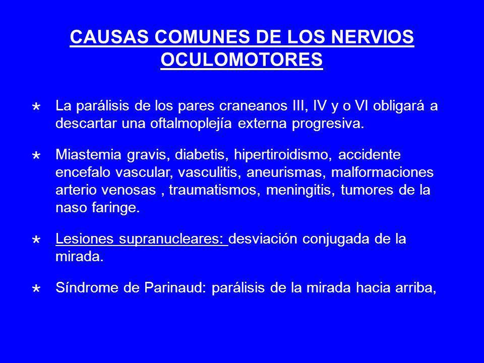 CAUSAS COMUNES DE LOS NERVIOS OCULOMOTORES La parálisis de los pares craneanos III, IV y o VI obligará a descartar una oftalmoplejía externa progresiva.