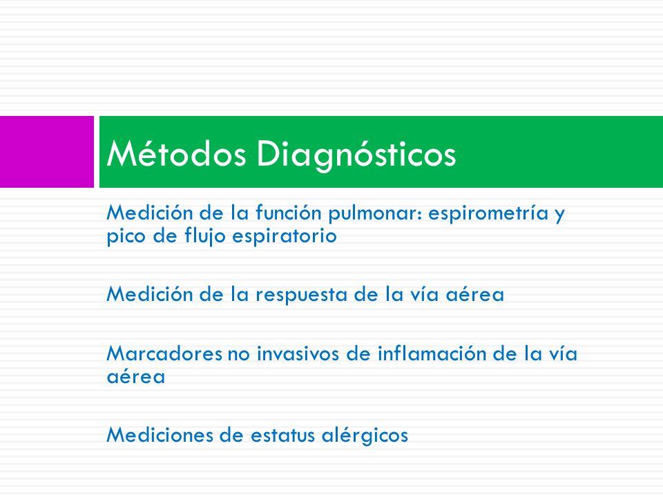 Medición de la función pulmonar: espirometría y pico de flujo espiratorio Medición de la respuesta de la vía aérea Marcadores no invasivos de inflamación de la vía aérea Mediciones de estatus alérgicos Métodos Diagnósticos
