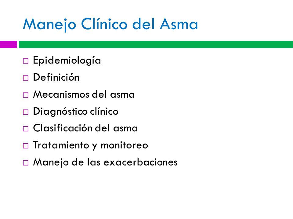 Manejo Clínico del Asma Epidemiología Definición Mecanismos del asma Diagnóstico clínico Clasificación del asma Tratamiento y monitoreo Manejo de las exacerbaciones