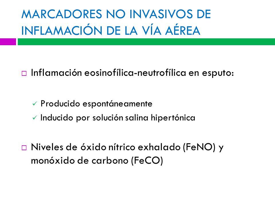MARCADORES NO INVASIVOS DE INFLAMACIÓN DE LA VÍA AÉREA Inflamación eosinofílica-neutrofílica en esputo: Producido espontáneamente Inducido por solución salina hipertónica Niveles de óxido nítrico exhalado (FeNO) y monóxido de carbono (FeCO)