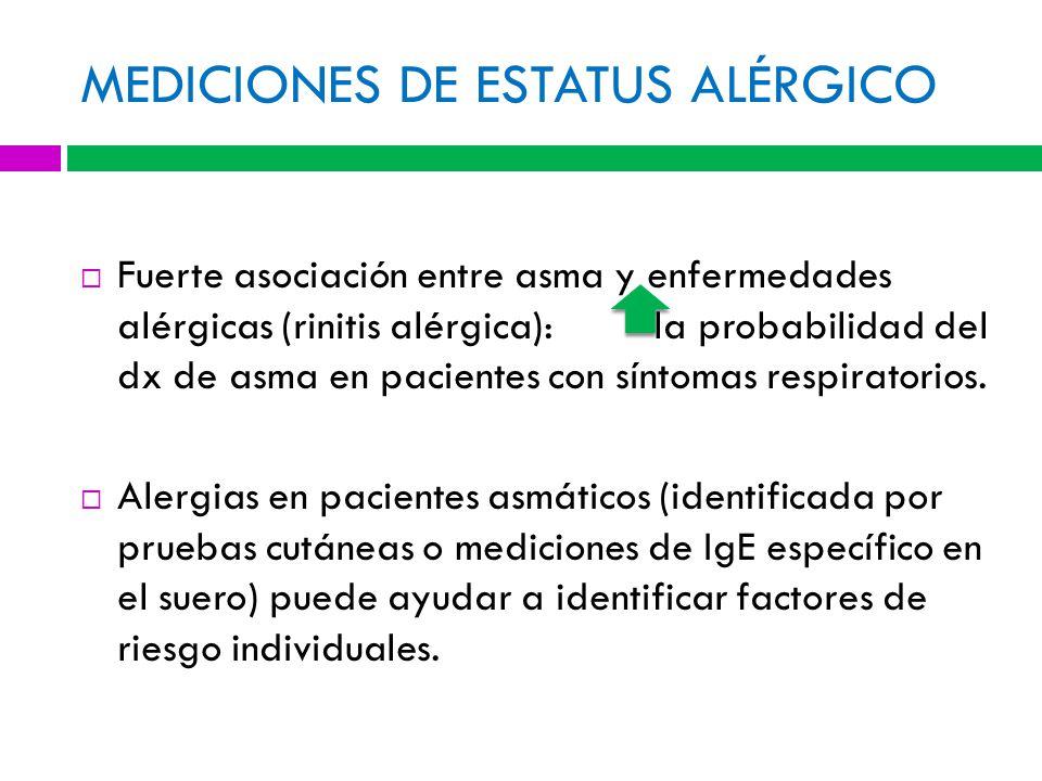 MEDICIONES DE ESTATUS ALÉRGICO Fuerte asociación entre asma y enfermedades alérgicas (rinitis alérgica): la probabilidad del dx de asma en pacientes con síntomas respiratorios.