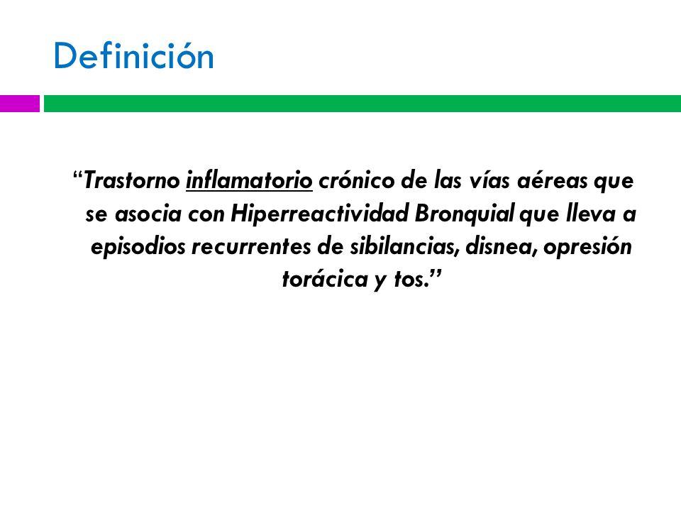 Definición Trastorno inflamatorio crónico de las vías aéreas que se asocia con Hiperreactividad Bronquial que lleva a episodios recurrentes de sibilancias, disnea, opresión torácica y tos.