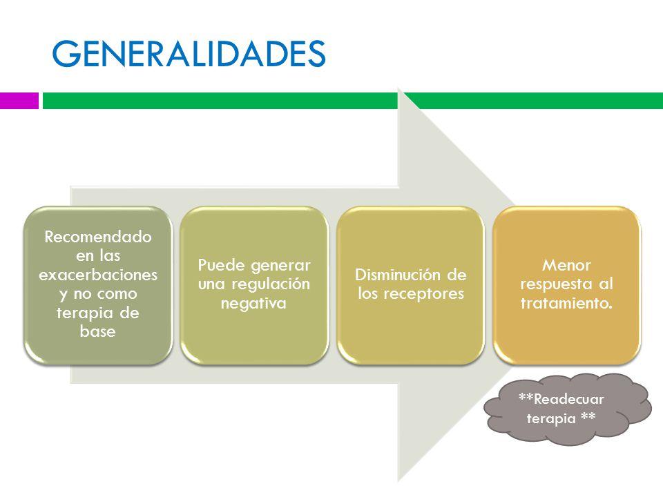 GENERALIDADES Recomendado en las exacerbaciones y no como terapia de base Puede generar una regulación negativa Disminución de los receptores Menor respuesta al tratamiento.