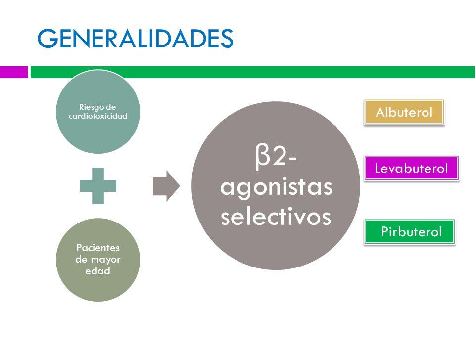 GENERALIDADES Riesgo de cardiotoxicidad Pacientes de mayor edad β 2- agonistas selectivos Albuterol Levabuterol Pirbuterol