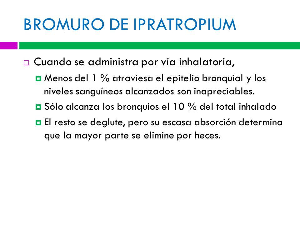 BROMURO DE IPRATROPIUM Cuando se administra por vía inhalatoria, Menos del 1 % atraviesa el epitelio bronquial y los niveles sanguíneos alcanzados son inapreciables.