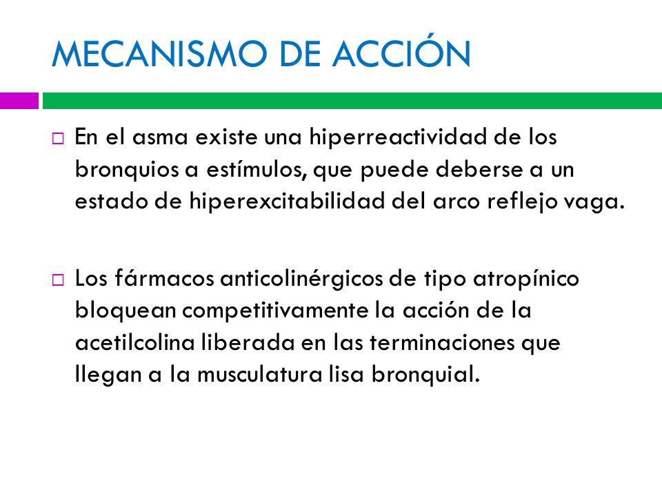 MECANISMO DE ACCIÓN En el asma existe una hiperreactividad de los bronquios a estímulos, que puede deberse a un estado de hiperexcitabilidad del arco reflejo vaga.