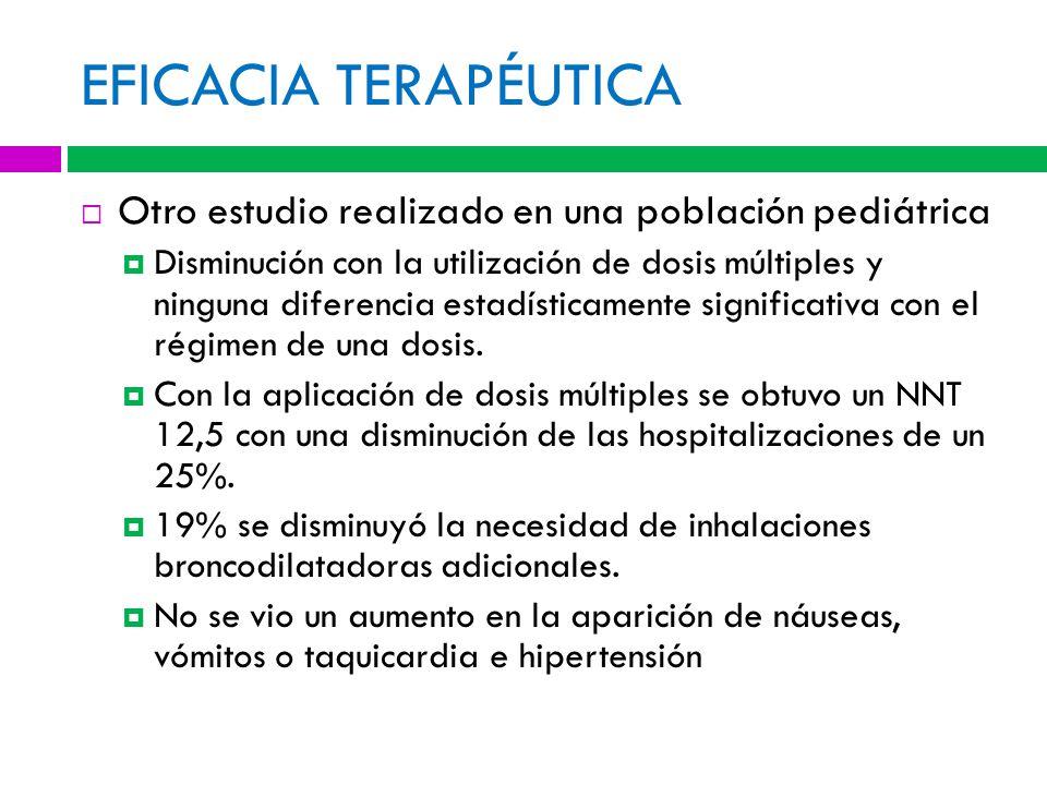 EFICACIA TERAPÉUTICA Otro estudio realizado en una población pediátrica Disminución con la utilización de dosis múltiples y ninguna diferencia estadísticamente significativa con el régimen de una dosis.