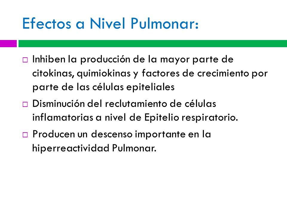 Efectos a Nivel Pulmonar: Inhiben la producción de la mayor parte de citokinas, quimiokinas y factores de crecimiento por parte de las células epiteliales Disminución del reclutamiento de células inflamatorias a nivel de Epitelio respiratorio.