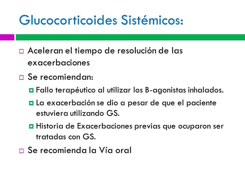 Glucocorticoides Sistémicos: Aceleran el tiempo de resolución de las exacerbaciones Se recomiendan: Fallo terapéutico al utilizar los B-agonistas inhalados.