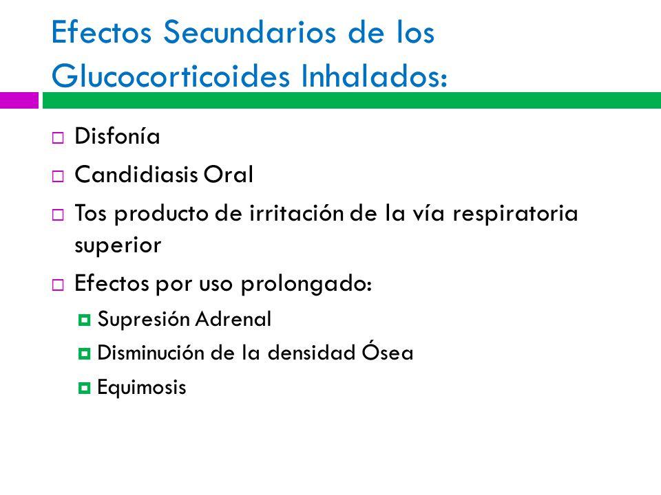 Efectos Secundarios de los Glucocorticoides Inhalados: Disfonía Candidiasis Oral Tos producto de irritación de la vía respiratoria superior Efectos por uso prolongado: Supresión Adrenal Disminución de la densidad Ósea Equimosis
