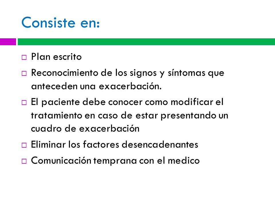Consiste en: Plan escrito Reconocimiento de los signos y síntomas que anteceden una exacerbación.
