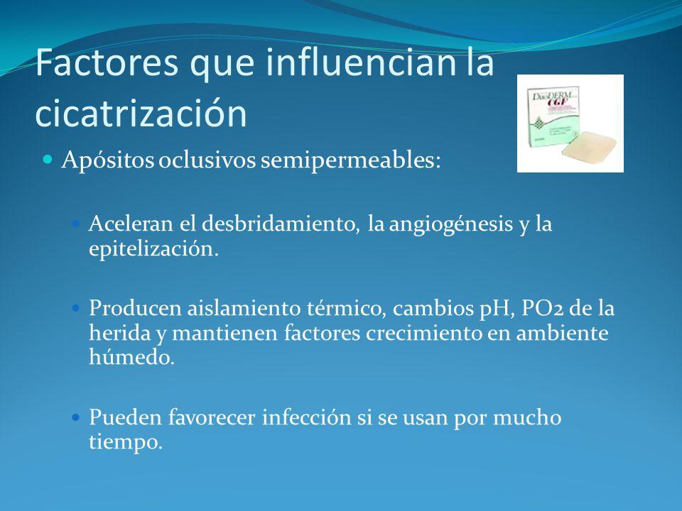 Apósitos oclusivos semipermeables: Aceleran el desbridamiento, la angiogénesis y la epitelización.
