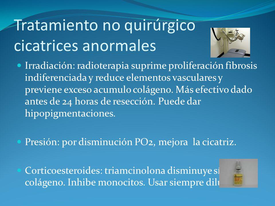 Tratamiento no quirúrgico cicatrices anormales Irradiación: radioterapia suprime proliferación fibrosis indiferenciada y reduce elementos vasculares y previene exceso acumulo colágeno.