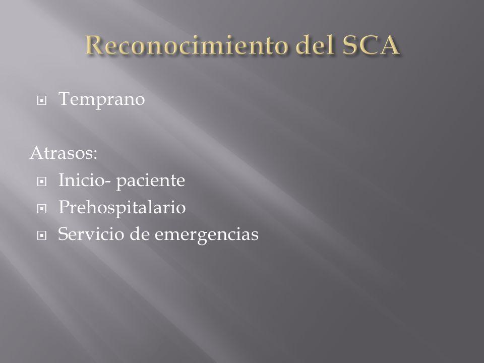 Temprano Atrasos: Inicio- paciente Prehospitalario Servicio de emergencias
