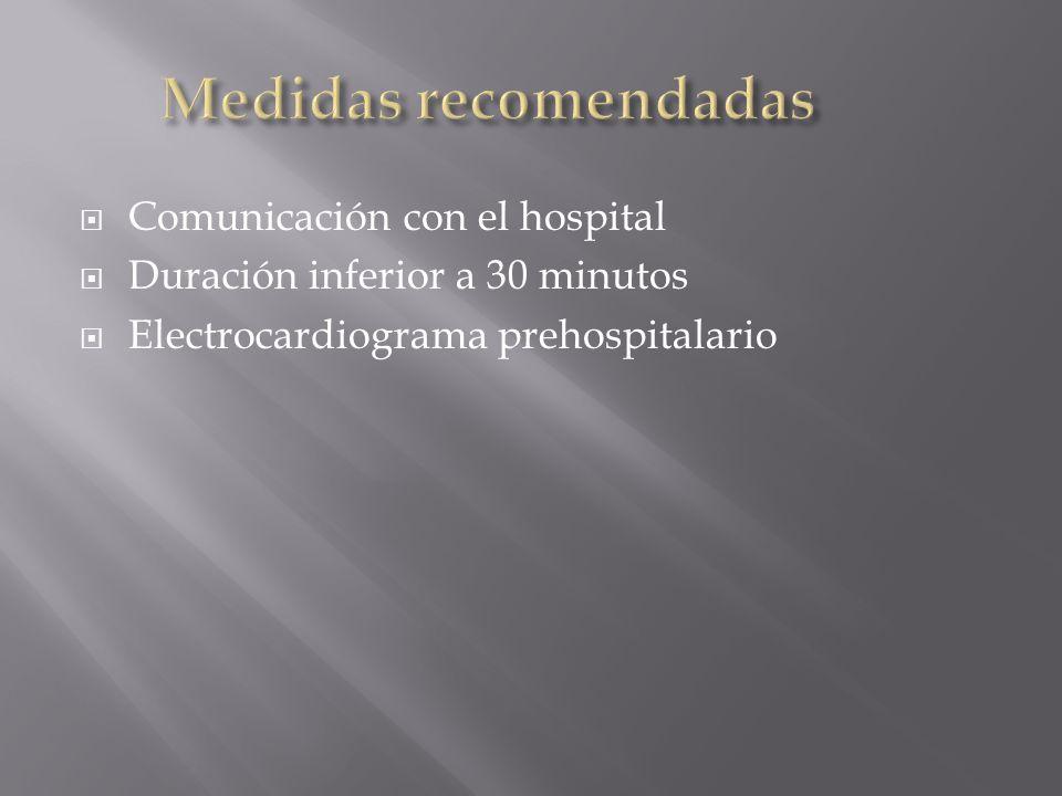 Comunicación con el hospital Duración inferior a 30 minutos Electrocardiograma prehospitalario