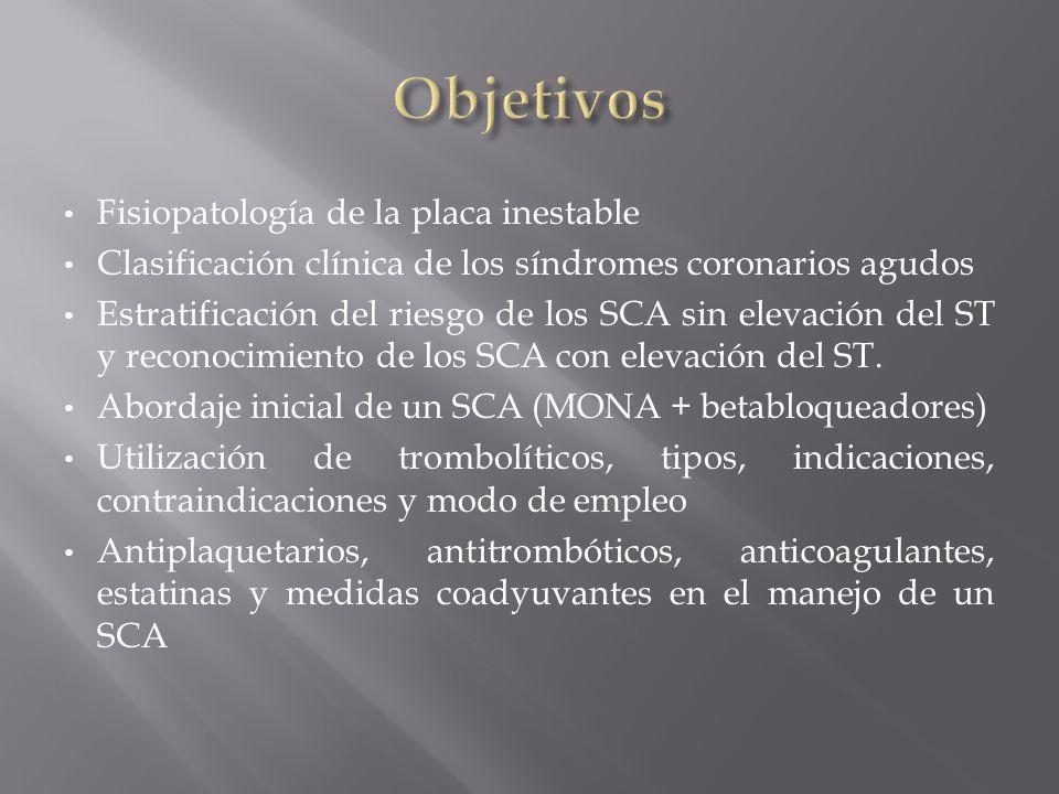 Fisiopatología de la placa inestable Clasificación clínica de los síndromes coronarios agudos Estratificación del riesgo de los SCA sin elevación del