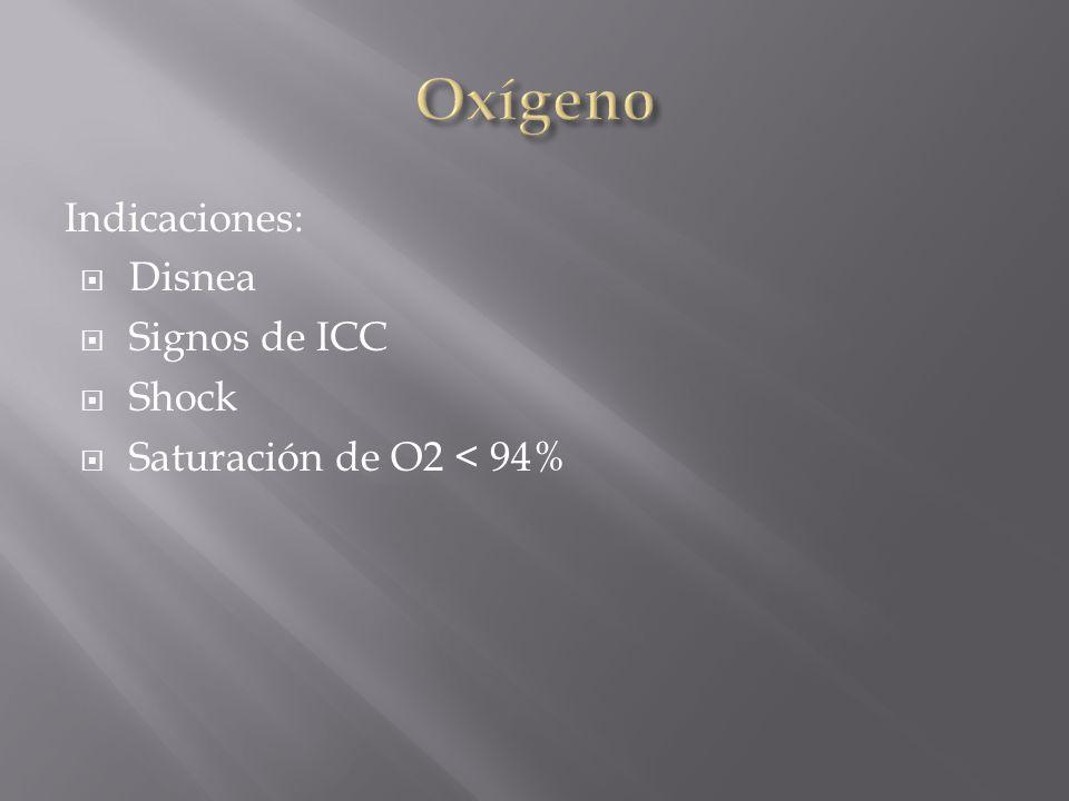 Indicaciones: Disnea Signos de ICC Shock Saturación de O2 < 94%