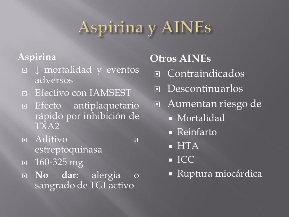 Aspirina mortalidad y eventos adversos Efectivo con IAMSEST Efecto antiplaquetario rápido por inhibición de TXA2 Aditivo a estreptoquinasa 160-325 mg