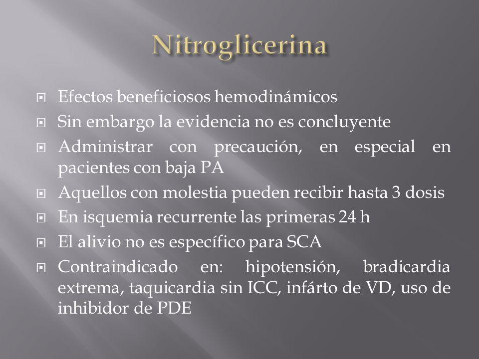 Efectos beneficiosos hemodinámicos Sin embargo la evidencia no es concluyente Administrar con precaución, en especial en pacientes con baja PA Aquello